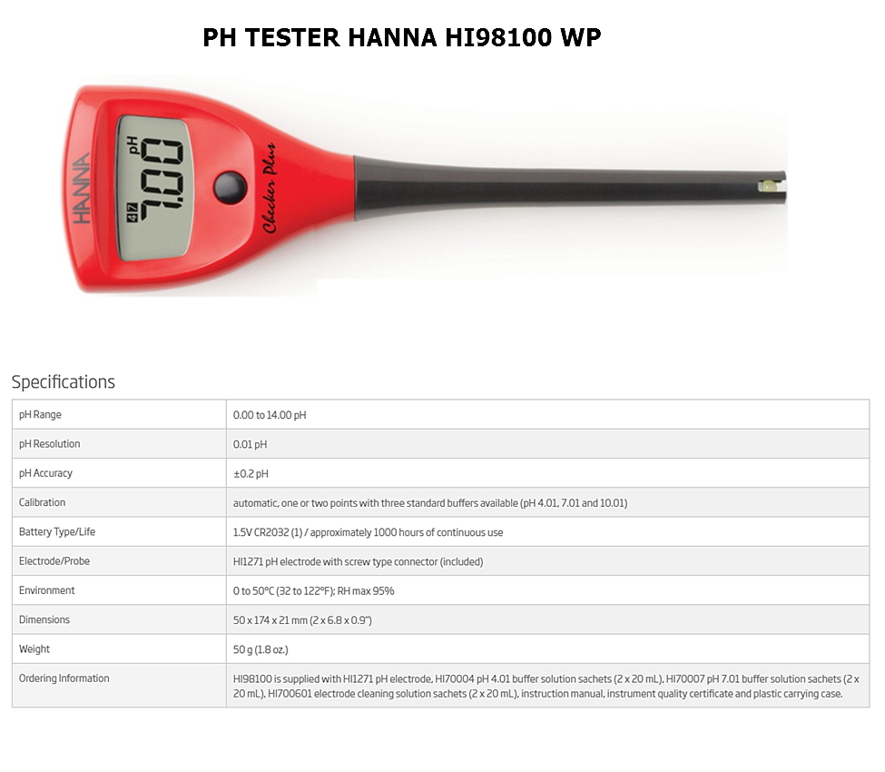 pH Tester Hanna HI98100WP