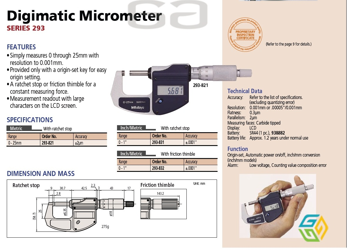 SCREW GAUGE MICROMETER DIGITAL