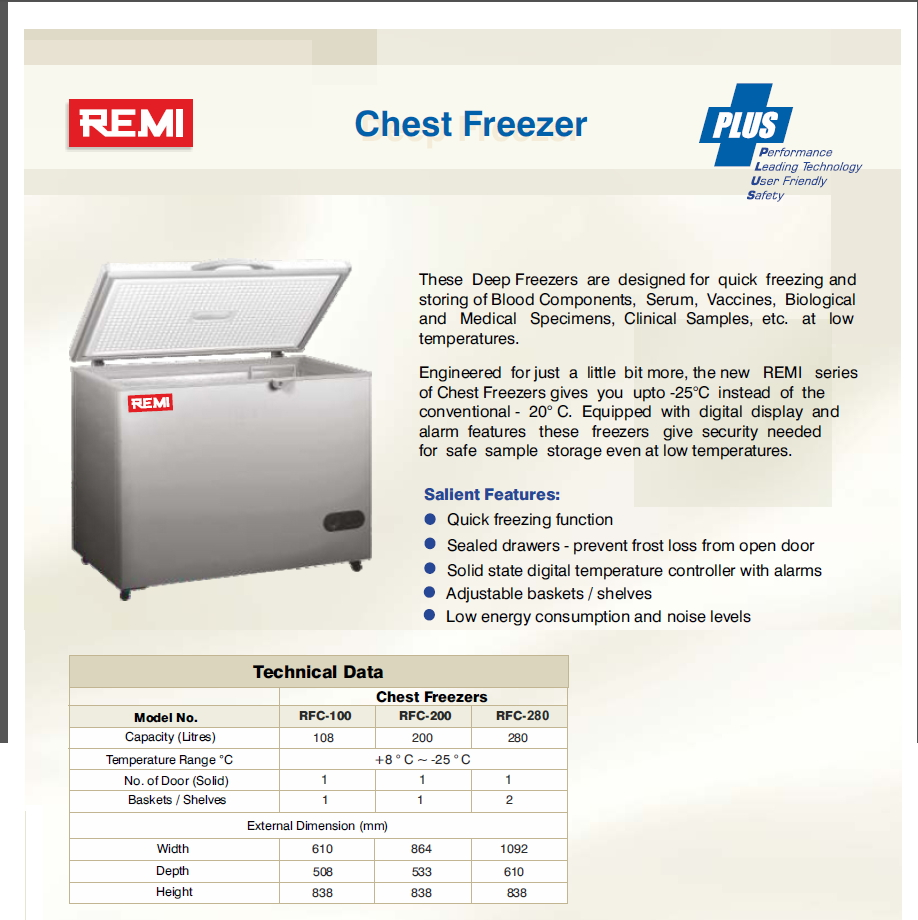 CHEST FREEZER  RFC100 200 280