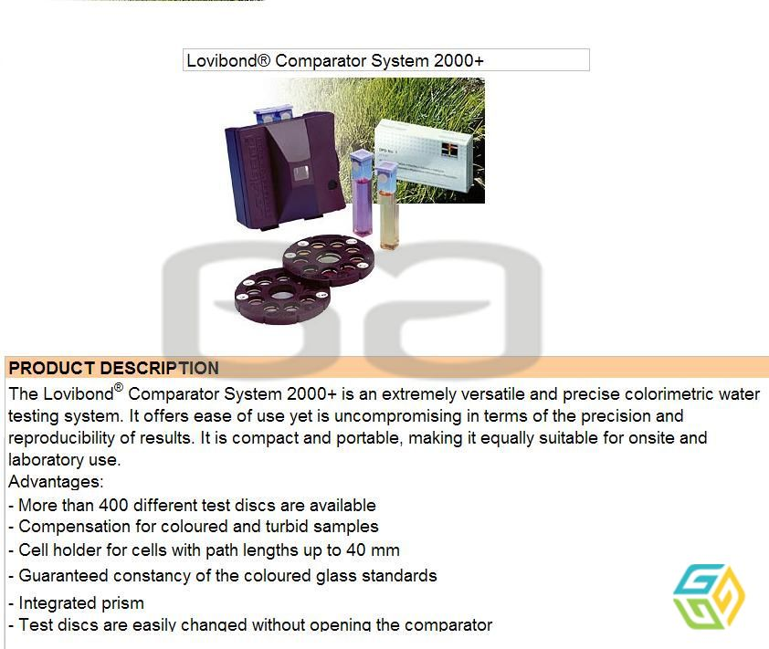 LOVIBOND Comparator and Disc