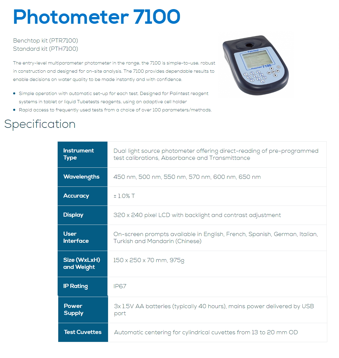 PALINTEST PHOTOMETER 7100