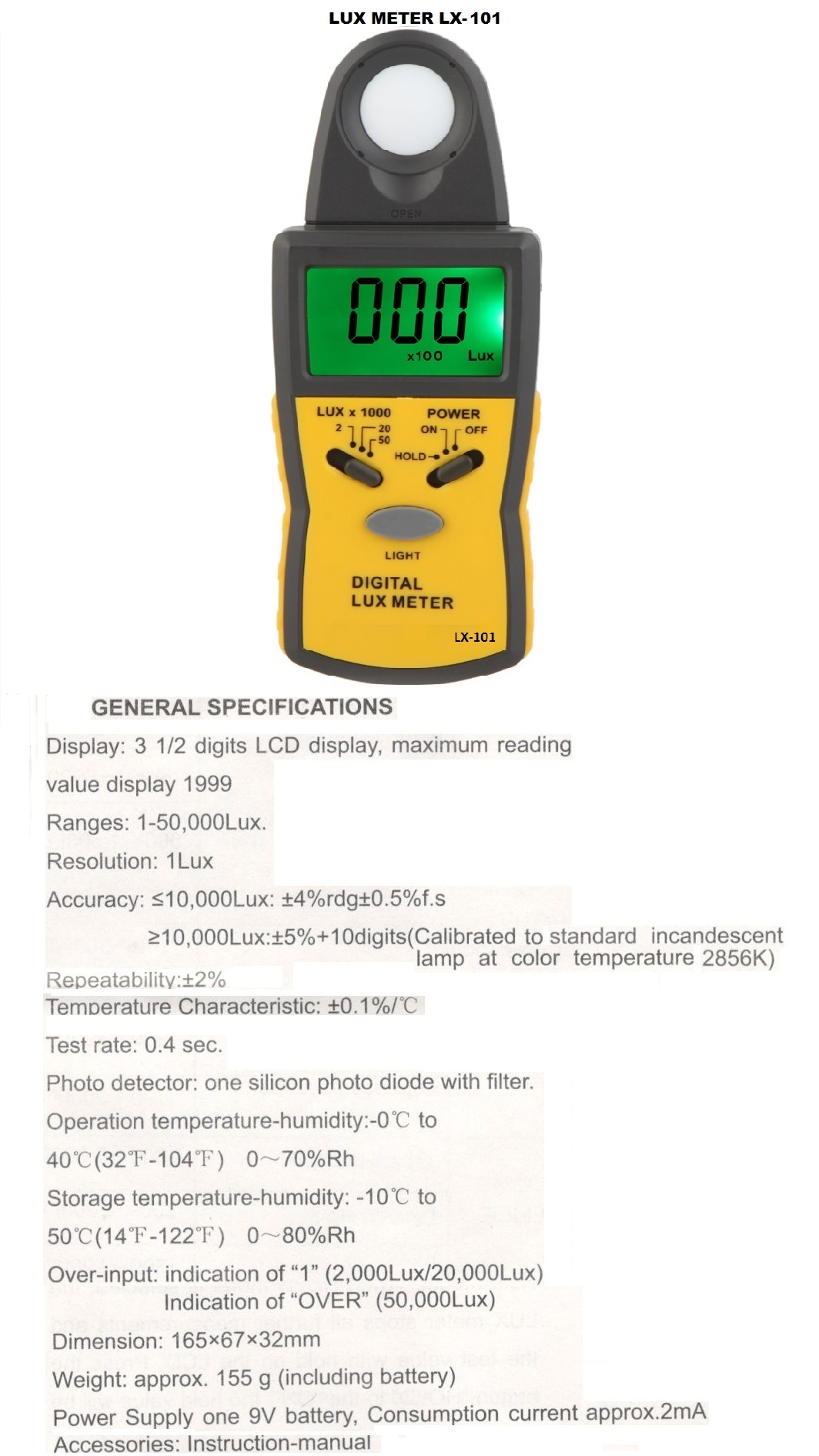 LUX METER LX 101  CHINA